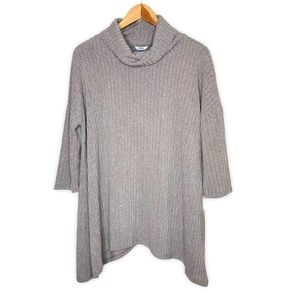 Sonoma Taupe Gray Cowl Neck Ribbed Sweater